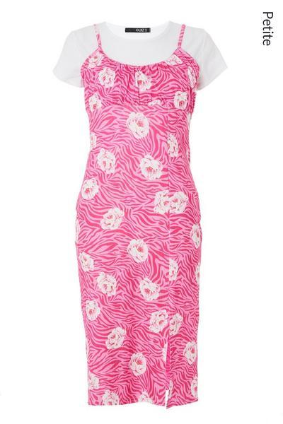 Petite Pink Floral Bodycon Midi Dress